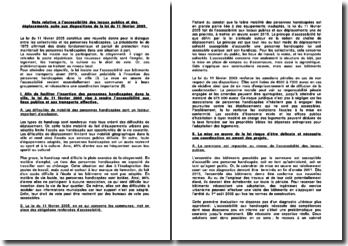 Note relative à l'accessibilité des locaux publics et des déplacements suite aux dispositions de la loi du 11 février 2005.