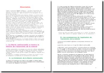 Dissertation - Le contrat et la liberté