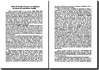 Fiche de lecture: L'erreur, un outil pour enseigner de Jean-Pierre Astolfi