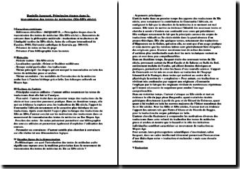 Danielle Jacquart, Principales étapes dans la transmission des textes de médecine (XIe-XIVe siècle)