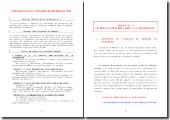METHODOLOGIE DU MEMOIRE DE RECHERCHE DE M1 OU M2