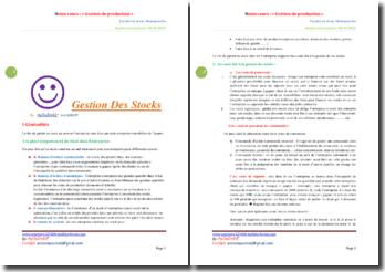 Notes de cours: gestion de production et des stocks