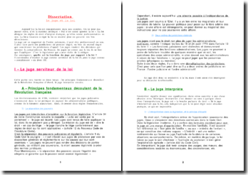 Dissertation - Le juge et la loi