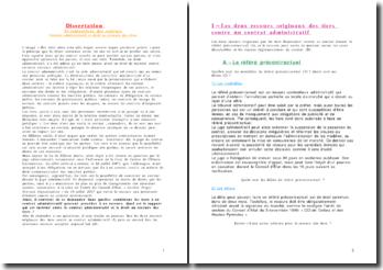 Dissertation - Contrat administratif et droit au recours des tiers