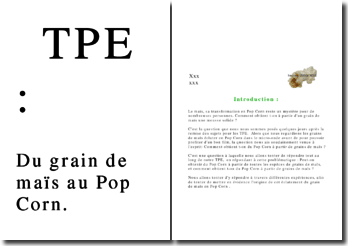 TPE Pop corn : Du grain de maïs au Pop Corn.