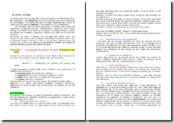 Le contrat de vente et le contrat d'entreprise: formation et effets