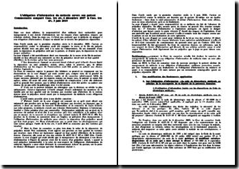 L'obligation d'information du médecin : commentaire comparé 1re civ, 6 décembre 2007 et 1re civ 3 juin 2010