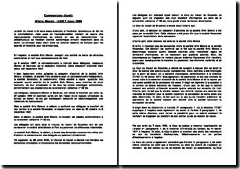 Commentaire d'arrêt affaire Merckx : CJCE 7 mars 1996