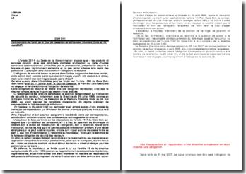 Commentaire de l'arrêt de le Cour de Cassation de la Première Chambre Civile du 15 mai 2007.