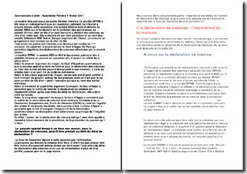 Déclaration de créance - Cour de Cass 4 février 2011