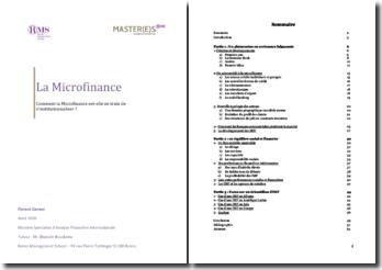 Comment la microfinance est-elle en train de s'institutionnaliser ?