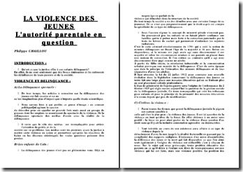 La violence des jeunes : L'autorité parentale en question - Philippe Chaillou