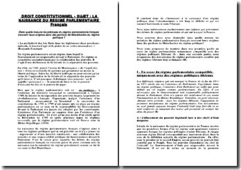 La naissance du régime parlementaire français
