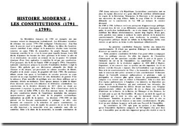 Les constitutions (1791 - 1799)