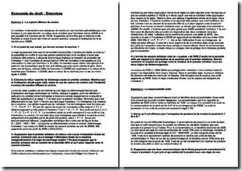 Exercices d'économie du droit niveau Master 1 sujet partiel