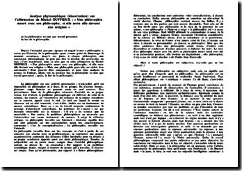 Analyse phylosophique sur l'affirmation de Michel DUFFIEUX : « Une philosophie meurt avec son philosophe, si elle reste elle devient une religion »