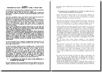 Commentaire de l'arrêt : Cour de Cassation 1ère civile, 1er février 1983