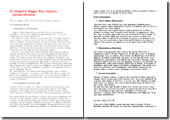 IV Chapitre Edgar Poe histoire extraordinaire