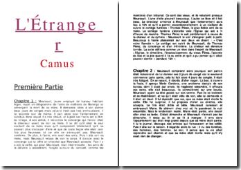 Résumé par chapitre de L'étranger - Ambert Camus