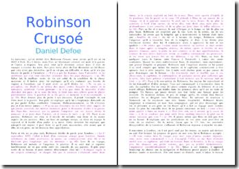 Résumé chronologique de Robinson Crusoé - Daniel Defoe