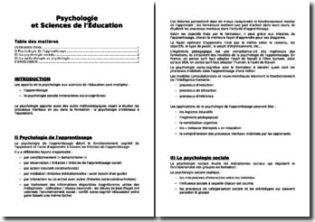 L'apport de la psychologie dans les sciences de l'éducation