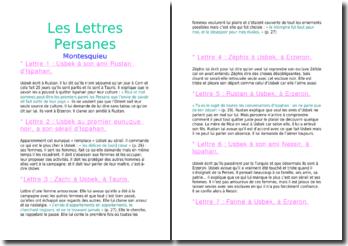 Résumé des Lettres Persanes - Montesquieu