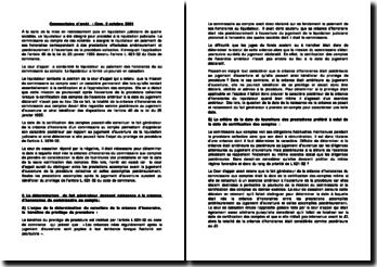 Commentaire de l'arrêt de la chambre commerciale du 2 octobre 2001