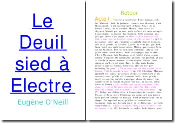 Résumé chronologique: Le deuil sied à Electre - Eugène O'Neill