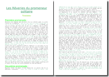 Résumé de Les Rêveries du promeneur solitaire - Jean-Jacques Rousseau