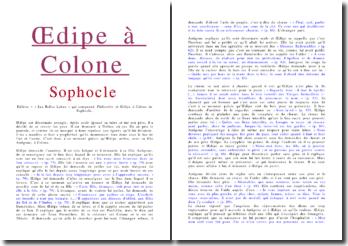 Résumé de Oedipe à Colone - Sophocle