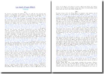 Résumé chronologique de La mort d'Ivan Illitch - Tolstoi