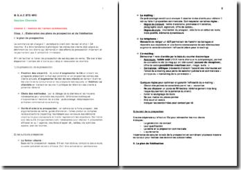 Gestion de l'action commerciale: élaboration des plans de prospection et de fidélisation