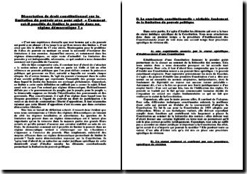 Dissertation de droit constitutionnel sur la limitation du pouvoir avec pour sujet « Comment est-il possible de limiter le pouvoir dans un régime démocratique ? »