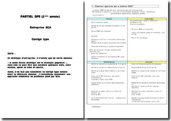 Corrigé analyse de la stratégie d'entreprise de l'entreprise SCA