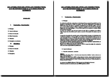 Les autorisations relatives aux constructions, aux transformations et aux démolitions de bâtiments