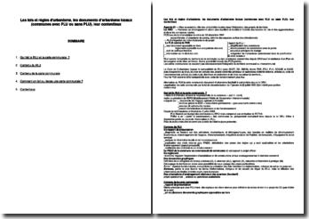 Les lois et règles d'urbanisme, les documents d'urbanisme locaux (communes avec PLU ou sans PLU), leur contentieux