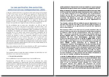 Le cas particulier des autorités administratives indépendantes (AAI)
