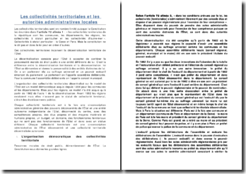 Les collectivités territoriales et les autorités administratives locales