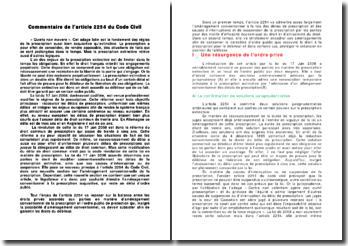 Commentaire de l'article 2254 du Code Civil
