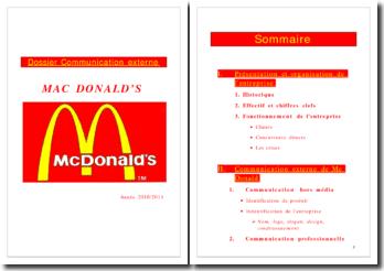Analyse de la communication externe de Mc Donald's en France (2010)