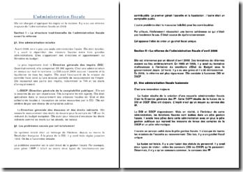 L'administration fiscale: avant et après la réforme de 2008