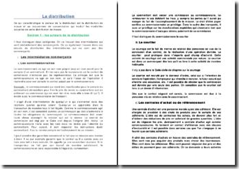 La distribution: acteurs, contrats et encadrement