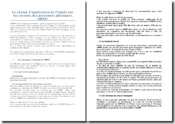 Le champ d'application de l'impôt sur les revenus des personnes physiques (IRPP)