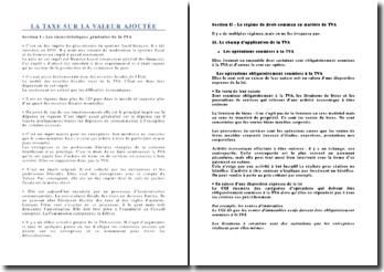 La Taxe sur la Valeur Ajoutée: caractéristiques générales et régime de droit commun