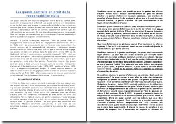 Les quasis contrats en droit de la responsabilité civile