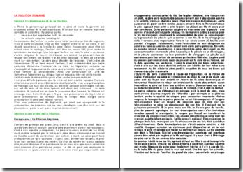 La filiation romaine: établissement et effets