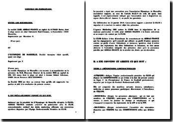 Contrat de parrainage fictif entre Adidas et l'Olympique de Marseille