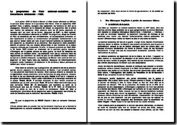 Le programme du Parti national-socialiste des travailleurs allemands : 1920