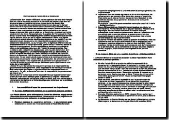 Commentaire de l'article 49 de la Constitution - parlement et gouvernement: question de confiance et motion de censure