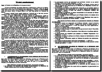 Dissertation : Le Président de la République et son gouvernement